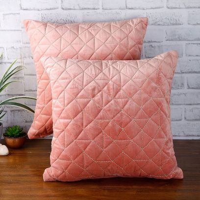 Buy Peach Velvet Quilted Cushion Covers Online India