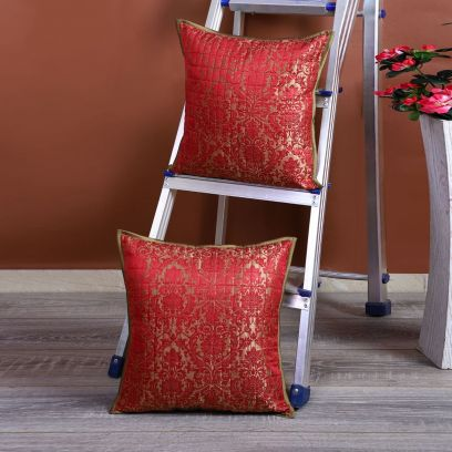Red and Silver Damask Print Designer Cushion Covers - Set of 2 (16 x 16 inches)