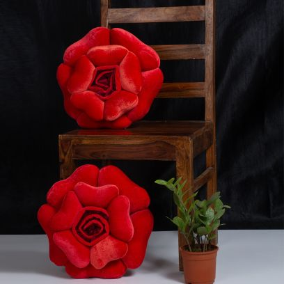 Red Velvet Floral Fancy Cushions Online