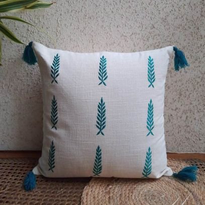Ivory Teal Embroidered Linen Look Cotton Slub Cushion Cover Set of 2 (16 X 16 Inches)