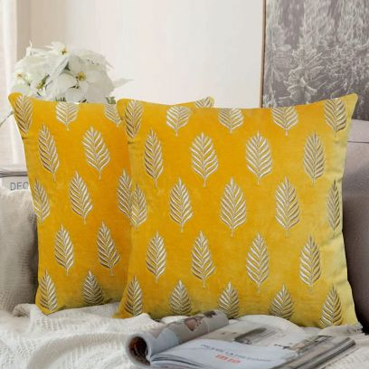 Ochre Yellow Embroidered Velvet Cushion Cover Set of 2 (16 X 16 Inches)