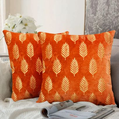 Orange Embroidered Velvet Cushion Cover Set of 2 (16 X 16 Inches)