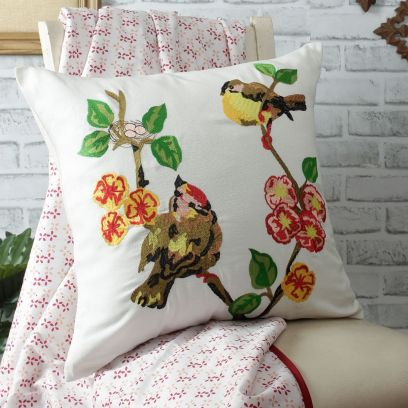 White Organic Cotton Embroidered Cushion Cover