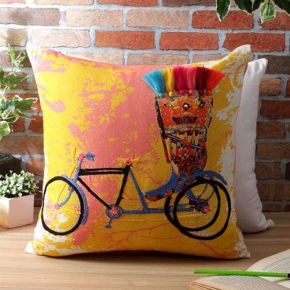 Yellow Digital Printed Organic Cotton Cushion Cover