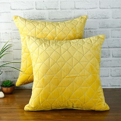 Purchase Yellow Velvet Cushion Cover Set Online at Wooden Street