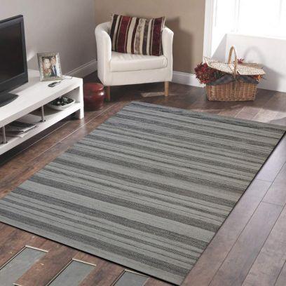 Beige Brown Hand Woven Woollen Stripe Pattern Dhurrie - 4.6 x 6.6 Feet