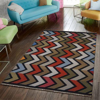 Black Hand Woven Woollen Geometric Pattern Dhurrie - 4.6 x 6.6 Feet