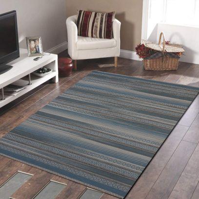 Blue Beige Woven Woollen Stripe Pattern Dhurrie - 4 x 6 Feet