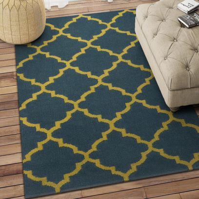 Handmade Carpets: Buy Online Blue Moroccan Hand Woven Wool Dhurrie - 3.6 x 5.6 Feet