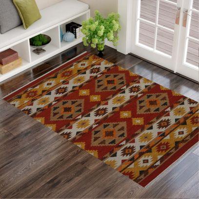 Multi Color Fine Woollen Hand Woven Traditional Pattern Kilim - 4 x 6 Feet