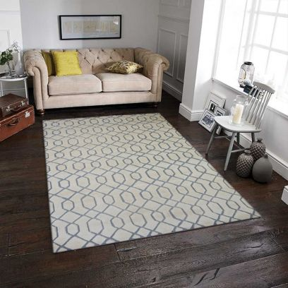 Natural Hand Knotted Woollen Transitional Pattern Rug 5 x 8 Feet
