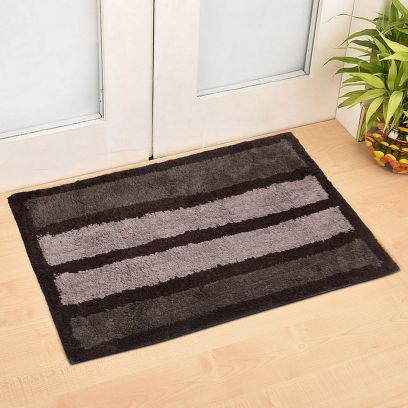 Grey and Black Solid Anti Skid Doormat (30 x 20)