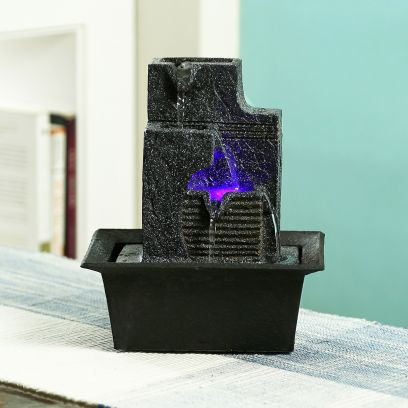 Black Stone Finish Flowing Water Indoor Fountain with Light