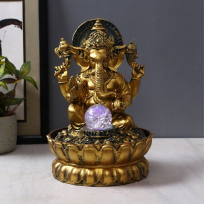 Golden Resin Pious Lord Of Beginnings Ganesha Statue Indoor Water Fountain