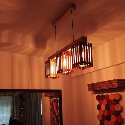 Elegant Brown and Beige Wooden Series Hanging Light