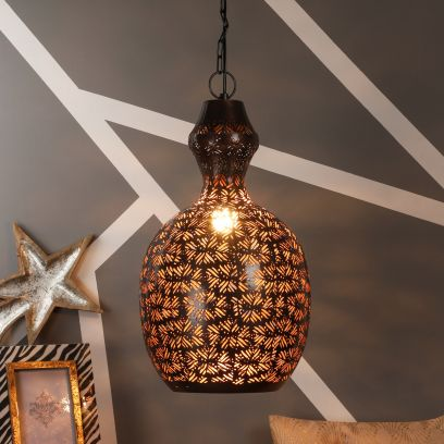 Mild Steel Antique Gold Single Hanging Light