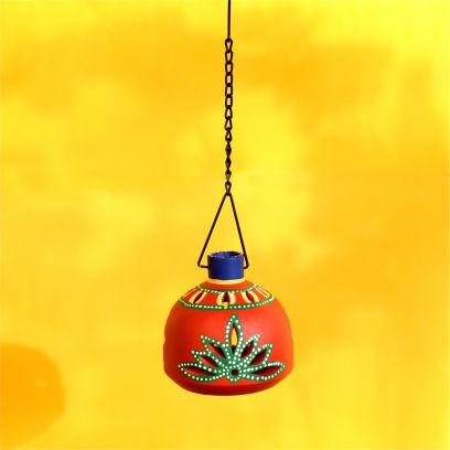 Red Colour Matki Shaped Handpainted Hanging Tea Light
