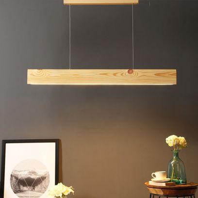 Slimline Beige Wooden 36-inch LED Hanging Lamps online
