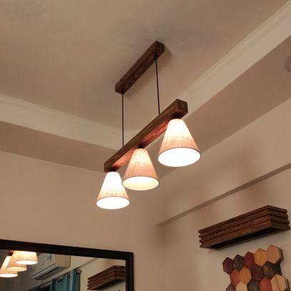 Terzo Beige Fabric Brown Wooden Series Hanging Light
