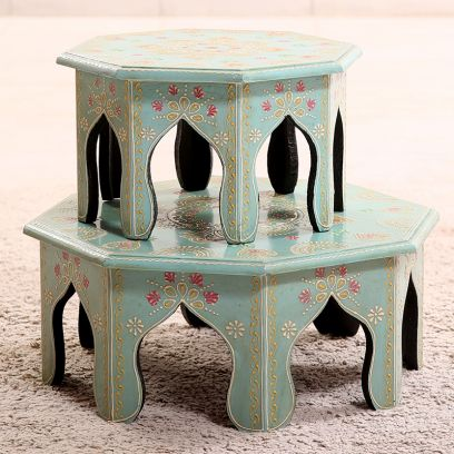 Cyan Chowki (Set Of 2)