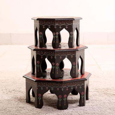 Umber Mandala Chowki (Set Of 3)