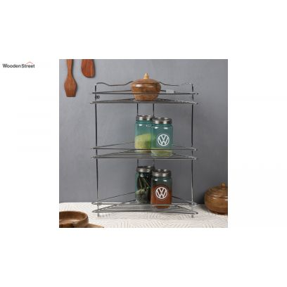 corner steel rack for kitchen utensils at low price