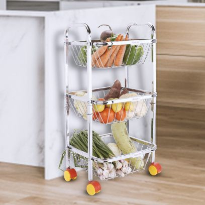 Stainless Steel 3 Shelf Fruits and Vegetable Trolley with Wheels