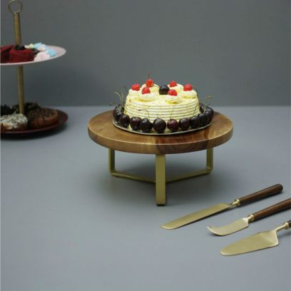 Brown and Gold Wooden Cake Stand