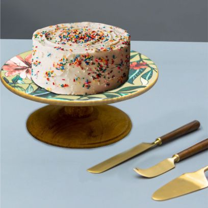Brown and Green Wooden Cake Stand