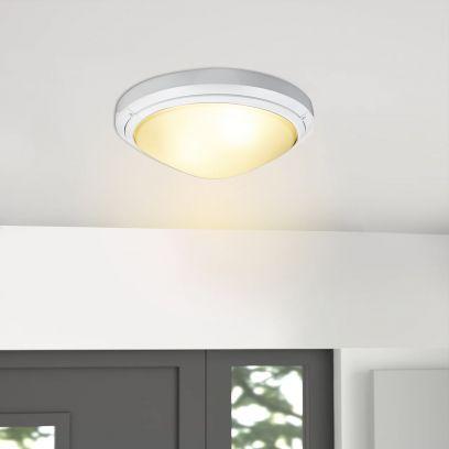 White Harwich Semi Flush Mounted Ceiling Light