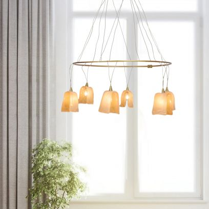 Bella Tiled Glass 6-Light Chandelier