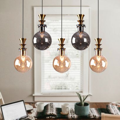 Rosenfort 5 Gold Grey and Amber Hanging Cluster Chandelier