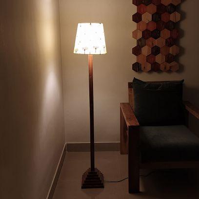 Babel Beige Wooden Floor Lamp