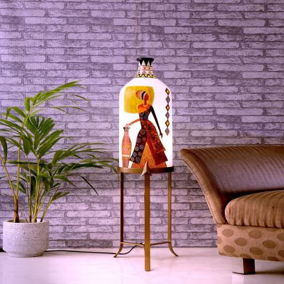 Belly Lady White Glass Shade with Metal Base Floor Lamp