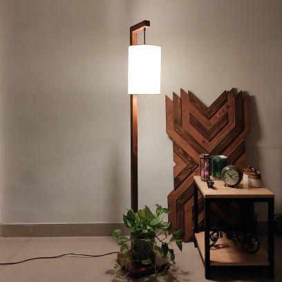 Elementary Brown Wooden Floor Lamp