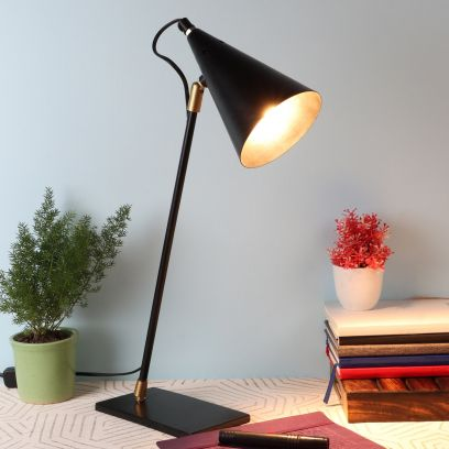 Bow Black Iron Shade Study Lamp with Black Base