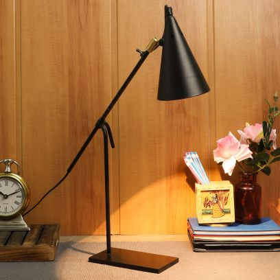 Bow Black Metal Shade Study Lamp with Black Base