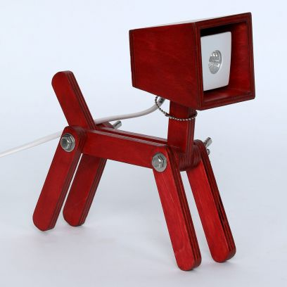 Little Dog Lamp in Red Finish