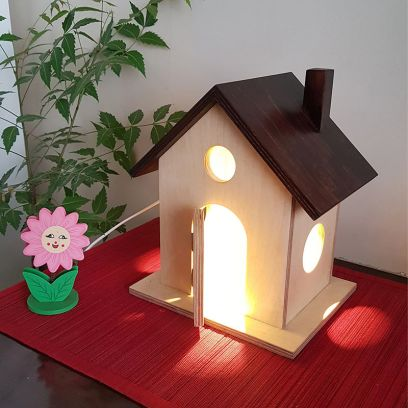 Brown and Beige Light House Table Lamp