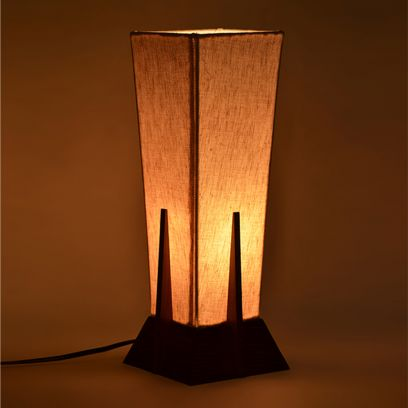 Brown and Cream Colour Pyramid Shape Table Lamp