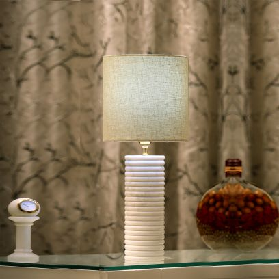 Carved-Way Marble Table Lamp with Beige Shade