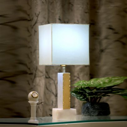Foiled Marble Table Lamp with White Shade