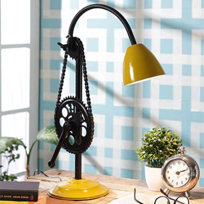 Mustard Clockwork Iron Study Lamp by Grated Ginger