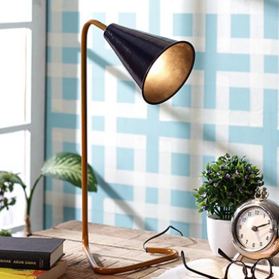 Navy Piper Iron Study Lamp by Grated Ginger