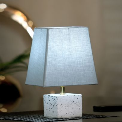 White Terrazo Table Lamp with Grey Shade