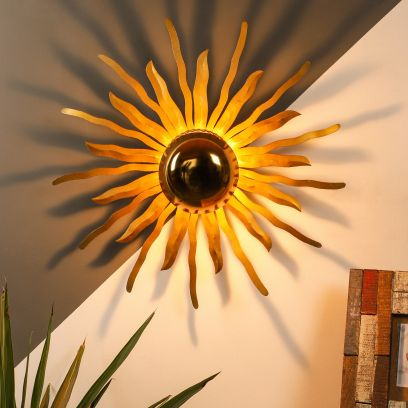 Antique Gold Mild Steel Wall Light