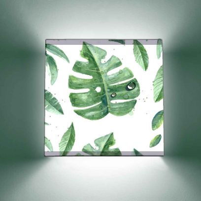 Green Monstera Leaves Square Shape Wall Mounted Lamp Light With Brass Holder and Bulb