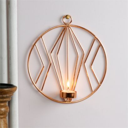 Golden Colour Candle Holder Wall Hanging Stand Showpiece