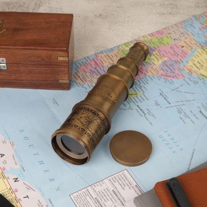 Brass Antique Telescope with Sheesham Wooden Box