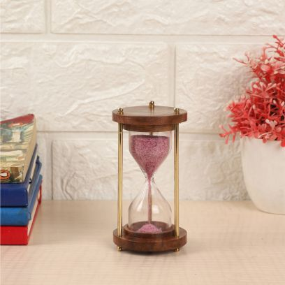 Pink Colour Brass and Wood Sand timer